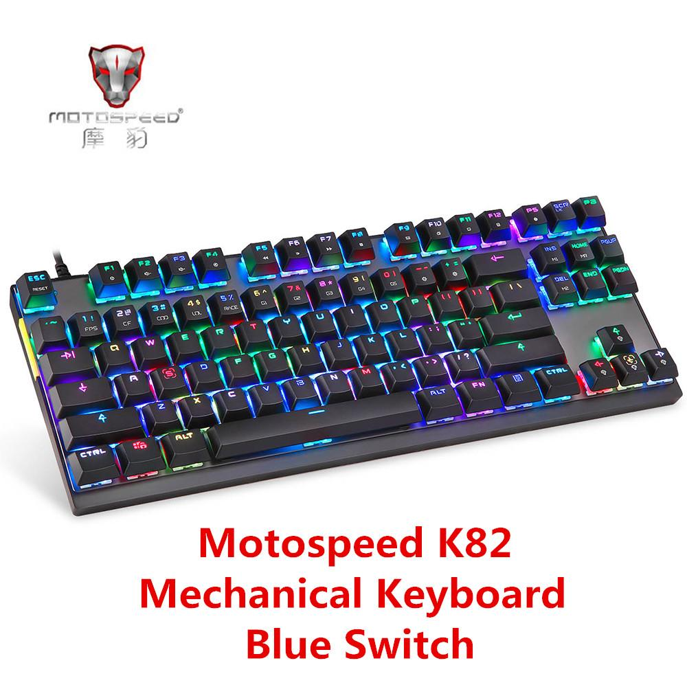 20ec05d4ec4 Motospeed K82 USB Wired Mechanical Keyboard With RGB Backlight All Key Anti  Ghost Gaming Keyboard Blue Switch 87 Keys For PUBG Picture Of Computer  Keyboard ...