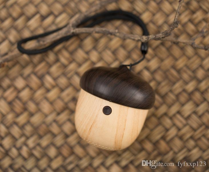 Nut Speaker Wooden bluetooth Subwoofer mini Unique Design with Built-in Microphone & Strap Wood Loudspeaker for iPhone & Android Retail Box