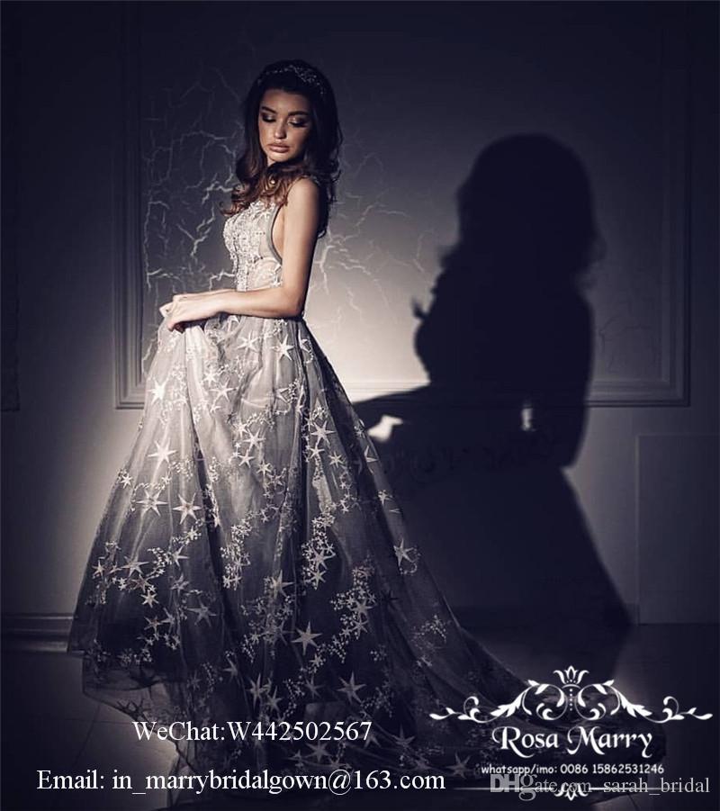 Prenses Artı Boyutu Arapça Gelinlik Modelleri 2020 Bir Çizgi V Boyun Gri Tül Yıldız Nakış Dantel Ucuz Afrika Örgün Mezuniyet Akşam Parti Kıyafeti
