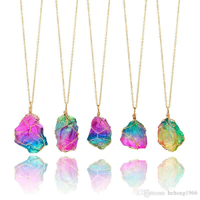 Kristal Kolye Doğal Orijinal Taş Gökkuşağı Renkli Şeffaf Zincir El Sanatları Hediyeler Yedi Renk Kolye Ücretsiz Kargo 8 2lg V