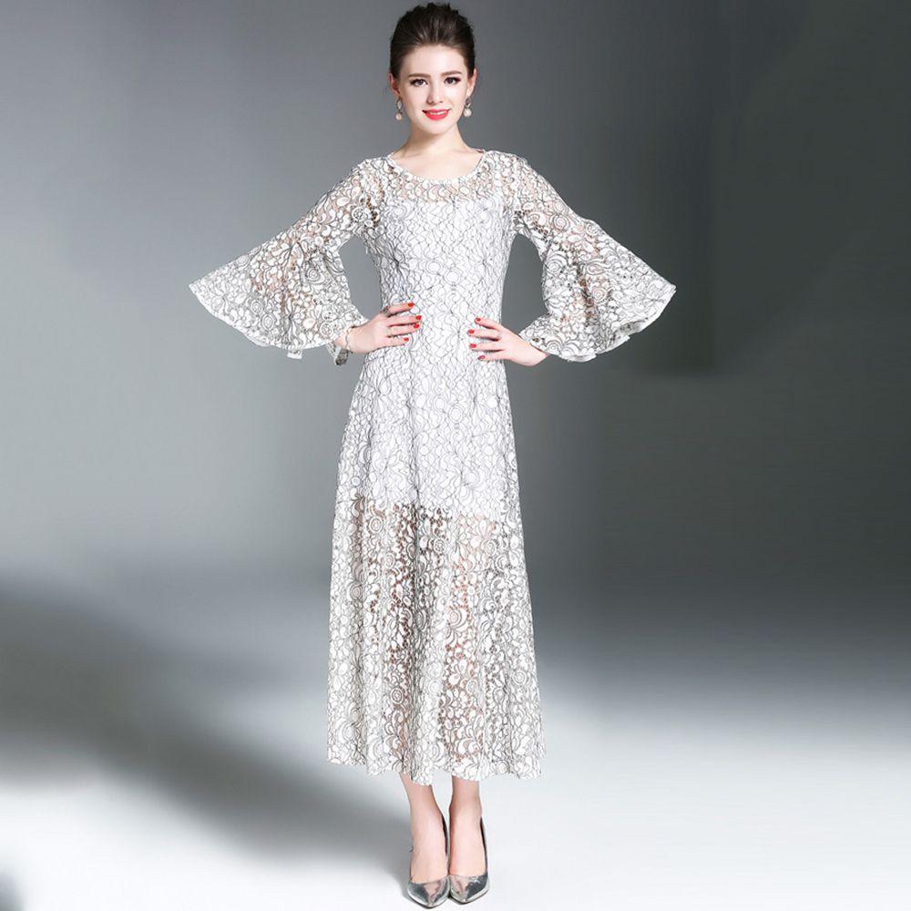 3 4 Sleeve White Lace Dress