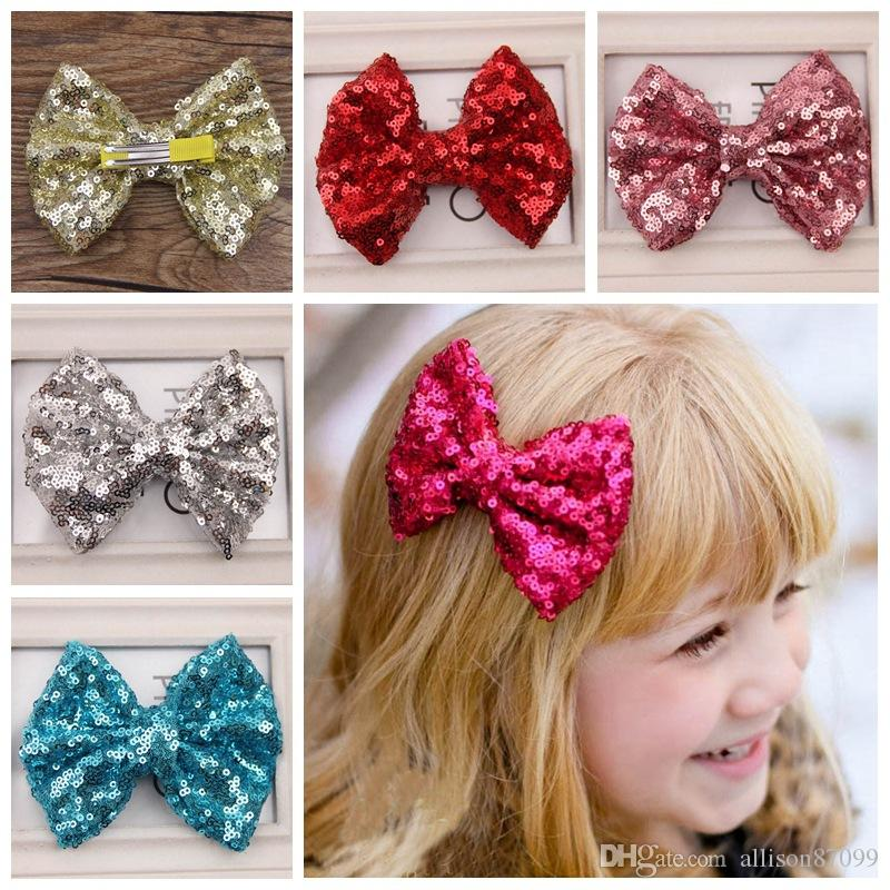 a7ce98d34c5b Baby Hair clips Big Bow Sequins Barrettes Girl Bow Hair accessories Girls  gifts Fashion Hotsale Boutique 2018 wholesale Pink Gold