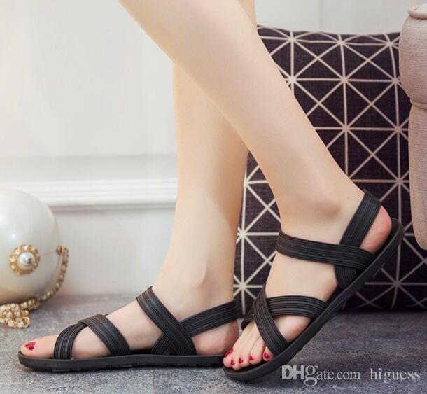 415256acf02959 Acheter 2018 Nouvelles Sandales Pour Femmes Tongs Chaussures D'été Femme  Bande Élastique Sandales Plates À Bout Ouvert Chaussures De Plage De $32.18  Du ...