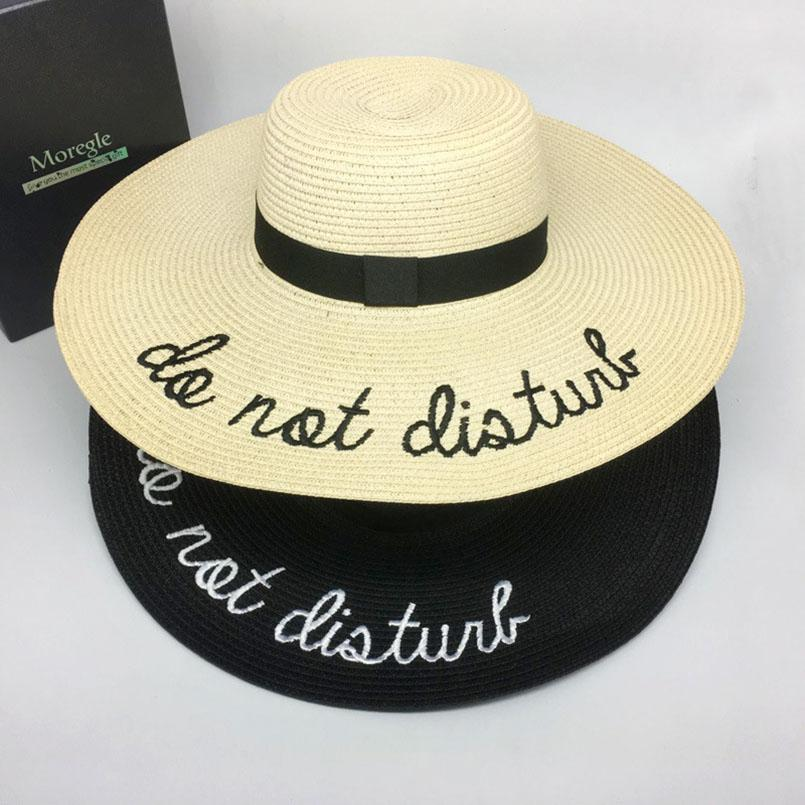925c67948c4 Luoguog 2018 Wide Brim Sunscreen Hat For Women Letter Embroidery Straw Hat  Female Straw Hats Folding Outdoor Tourism Cap Chapea Cloche Hat Cool Hats  From ...