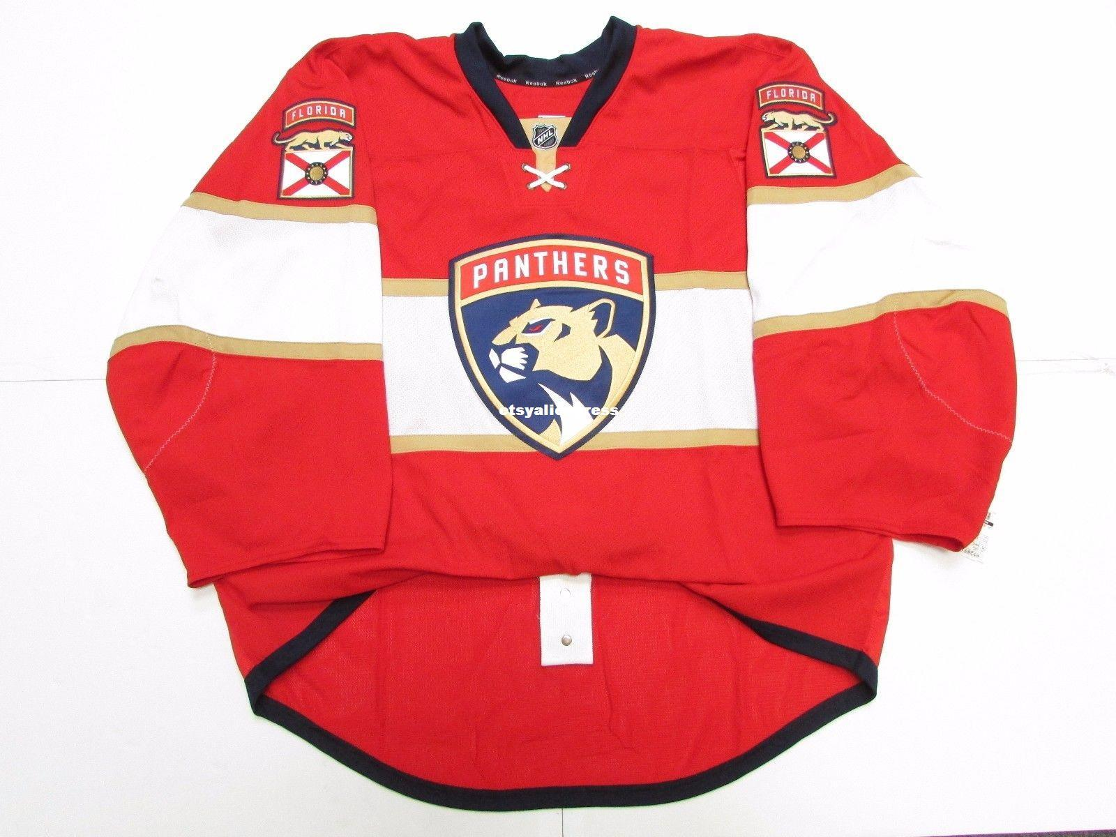 half off a7b49 4574e Wholesale customization FLORIDA PANTHERS HOME TEAM ISSUED JERSEY GOALIE CUT  Mens Stitched Personalized hockey Jerseys