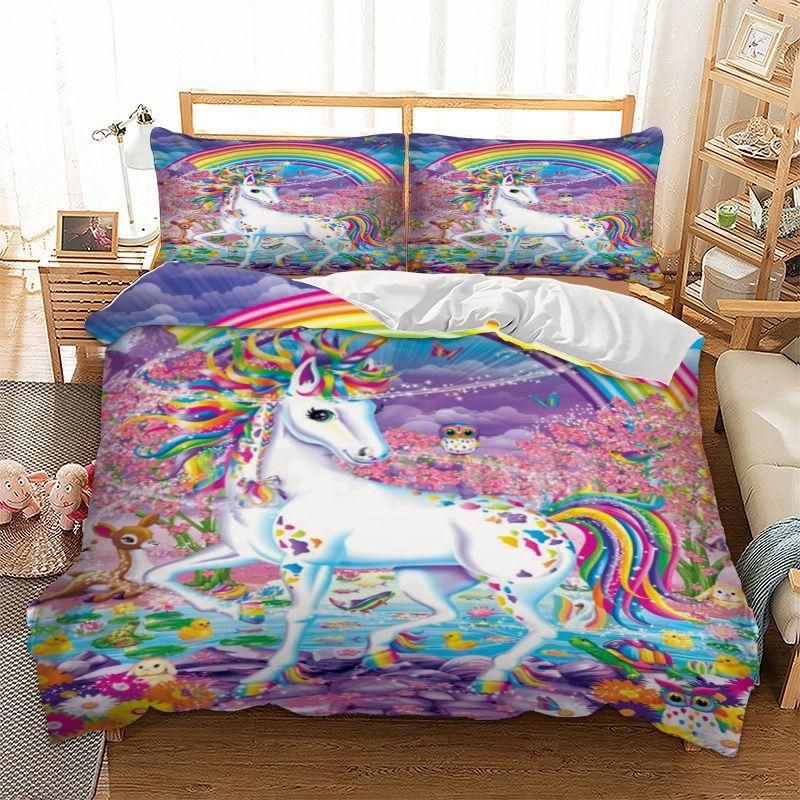 unicorn bedding set rainbow duvet cover pillow cases twin full queen king uk double au single size cartoon bedclothes comforter set king white duvet sets - Unicorn Bedding