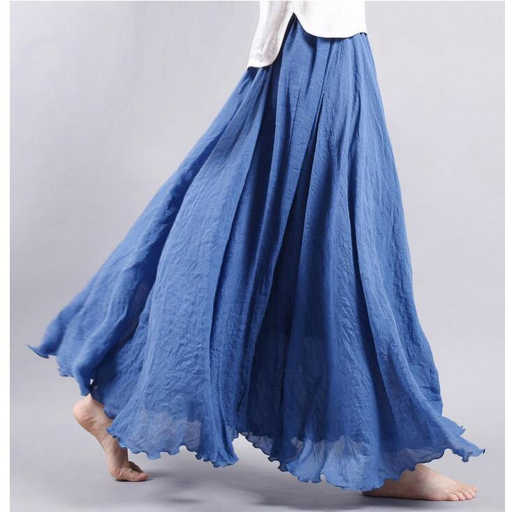 475bd82cd05 2019 Women Linen Cotton Long Skirts Plus Size Elastic Waist Pleated Maxi  Skirts Vintage 2 Layers Summer Faldas Saia Feminina From Ppkk