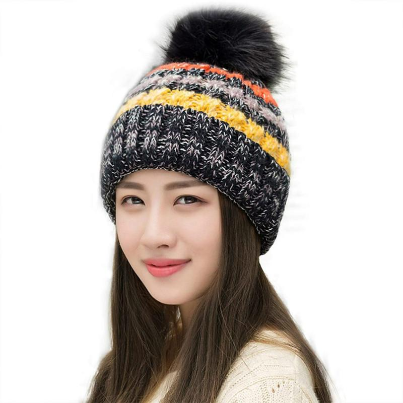 b7de9275e5f Simple Style Pom Pom Hats Womens Winter Hand Knit Faux Fur Pompoms Beanie  Hat Super Warm AA10059 Beanie Hats For Men Black Beanie From Handanxuebu