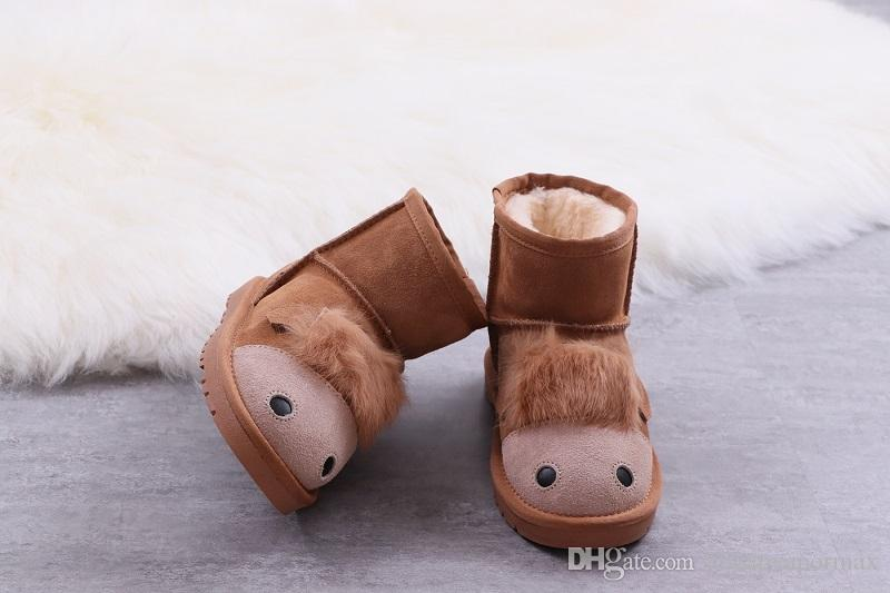 563c46fe83899 Wholesale Winter Shoes Australia Classic Snow Boots Top Quality WGG Tall Boots  Real Leather Kids Baby Child Boots With Box Size US 26 35 Fur Boots Black  ...
