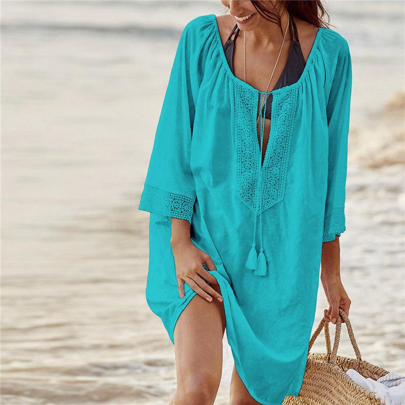 0d4873162f Bikini Cover Up Lace Hollow Crochet Tassel Swimsuit Beach Dress ...
