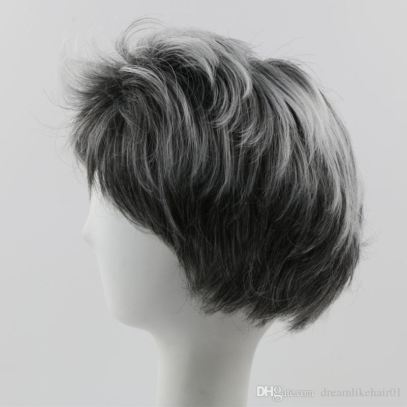Mixte Couleur Ombre Perruque Courte Partie Cosplay Synthétique Perruque de Cheveux pour Femmes Hommes Ondulés Perruques avec Bangs Perruques Complètes