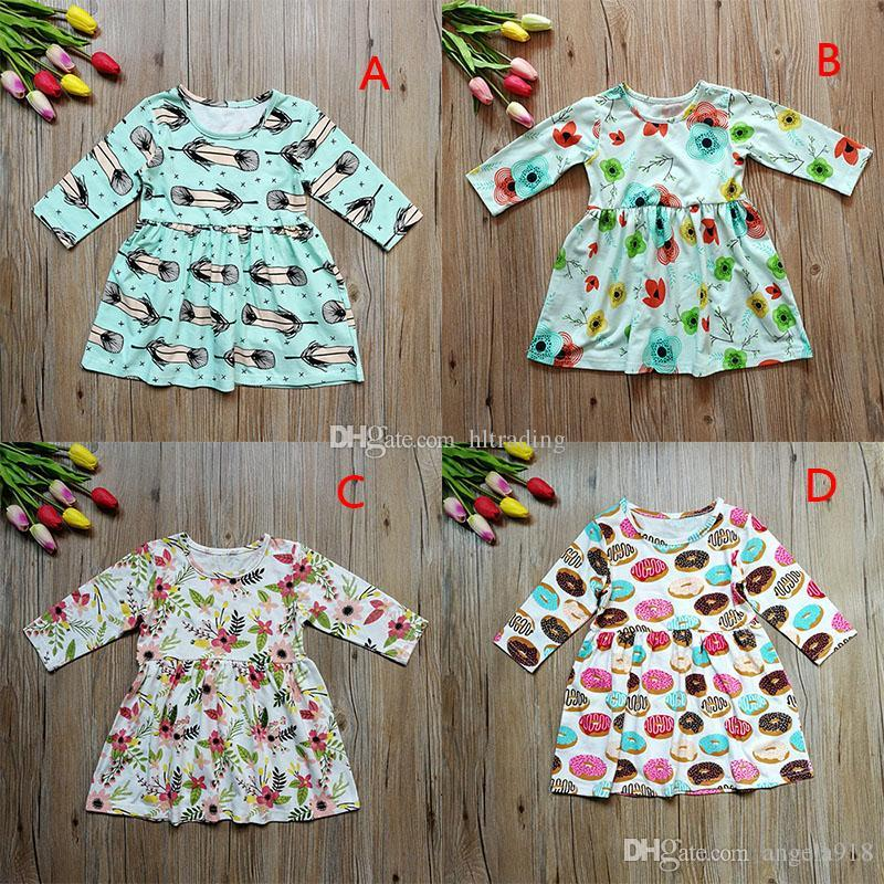 4f332e285 2019 Baby Girls Feather Donuts Print Dress Christmas Children Floral  Princess Dresses Xmas Kids Costume C3082 From Angela918, $5.06 | DHgate.Com