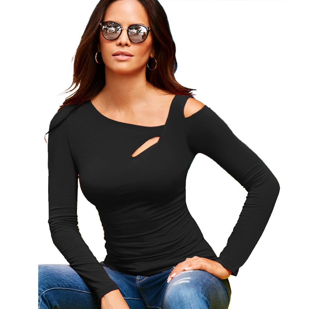 fdd78fbc61da Women T Shirt Solid Stretchy Asymmetric Neckline Cut Out One Cold Shoulder  Female T Shirt Slim Long Sleeve Casual Tee Shirt Tops Funny T Shirts For  Women ...