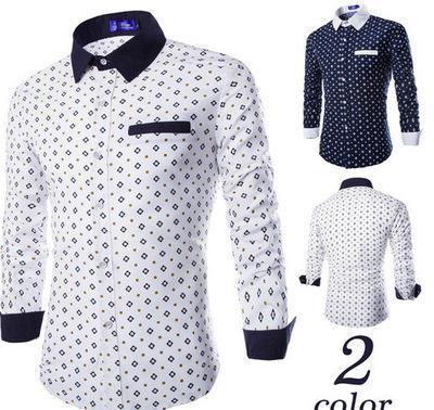 Großhandel Mode Männer Shirt Printting Argyle Muster Shirts Nähen ...