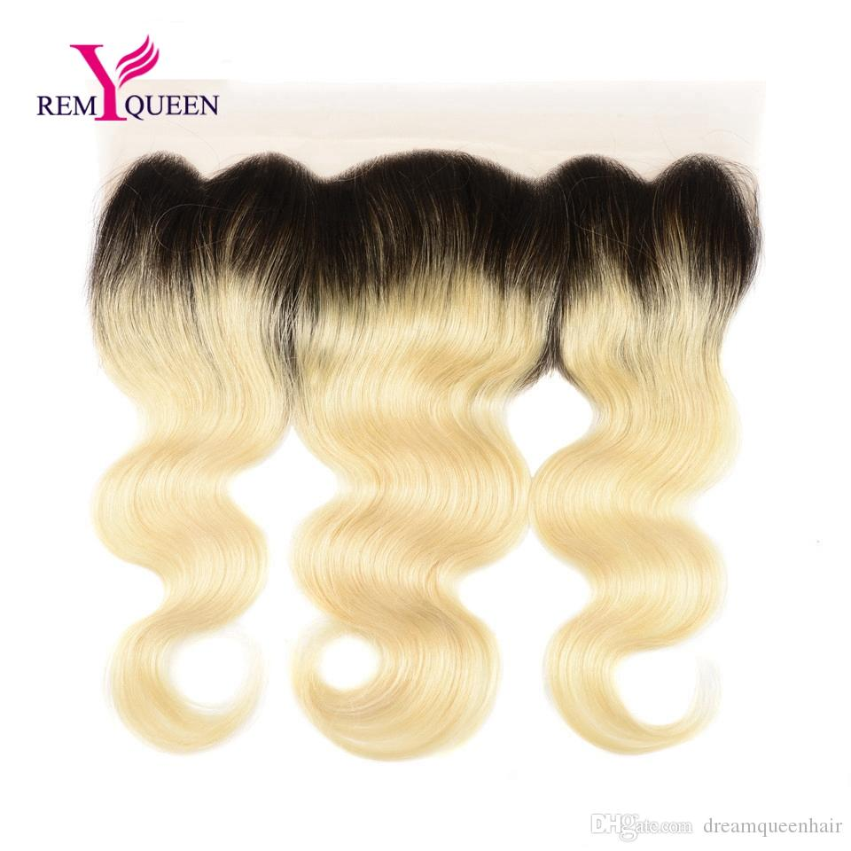 Dream Remy Queen Lace Frontal Body Wave Ombre Color 1b 613 Lace Frontal Closure 13x4 inch Hand Tied Double Knots Nautral Hairline Baby Hair