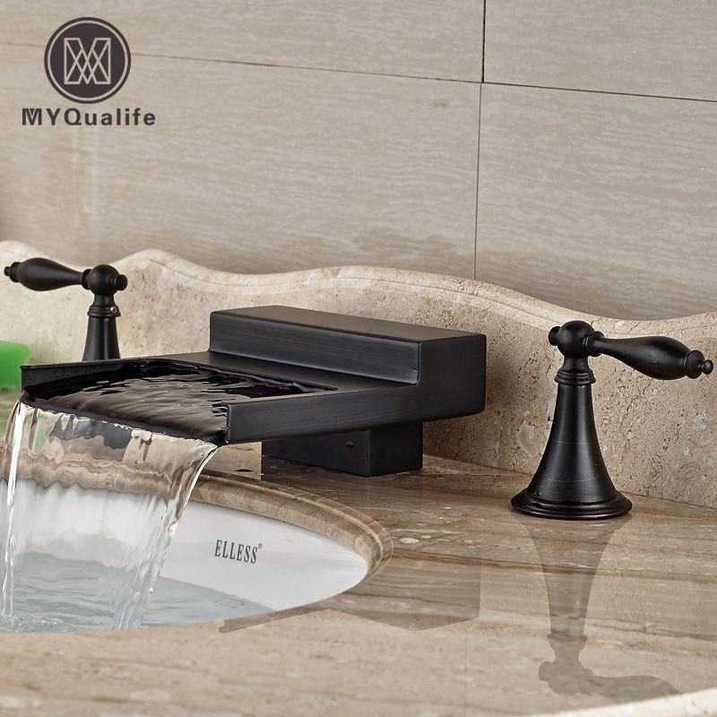 Ordinaire Oil Rubbed Bronze Width Waterfall Spout Widespread Bathroom Sink Basin  Faucet Dual Handles Basin Mixer Tap