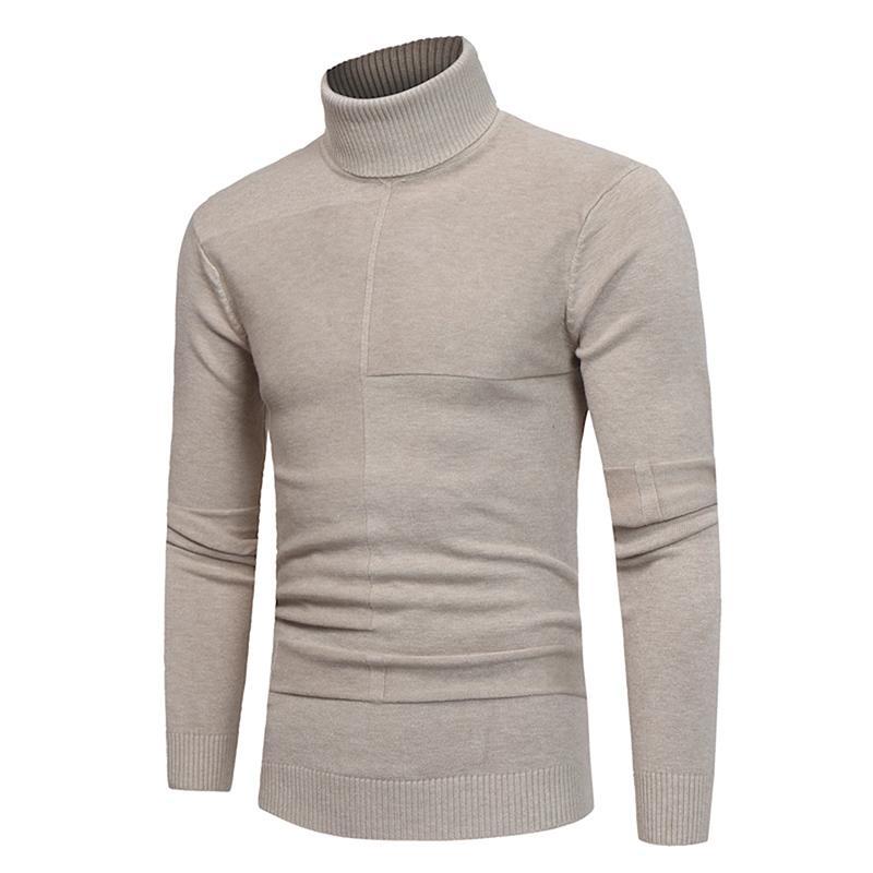 Compre 2018 Novo Outono Inverno Moda Masculina Alta Lapela Camisola Camisa  Assentamento Magro Sólida Listrado Homens Gola Alta Camisola De Malha Mais  Quente ... adf25be615597