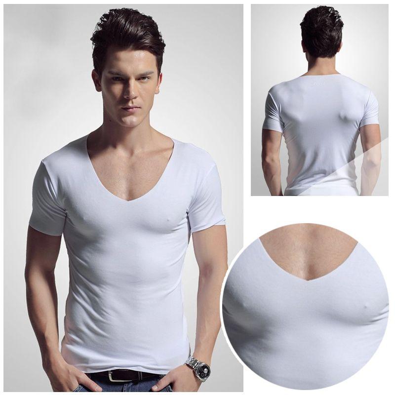 lowest price 3f630 0c7ec 1Pcs tiefer V-Ausschnitt Herren T-Shirt Slim Basic Hot Kurzarm New Casual  T-Shirt