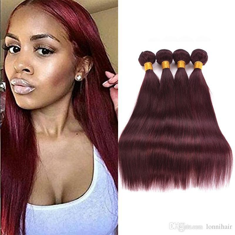 2018 Straight Hair Weaves 4 Bundles Dark Red 99j Burgundy Brazilian