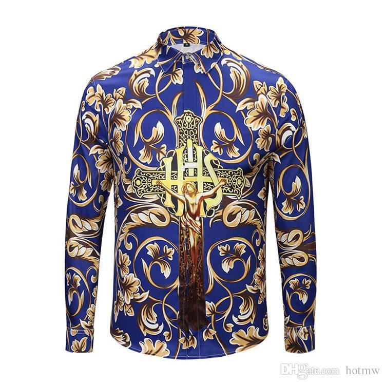 Fashion Mens Gold Shirt Bright Coating Trend Coated Metallic ... 2f97c5092997