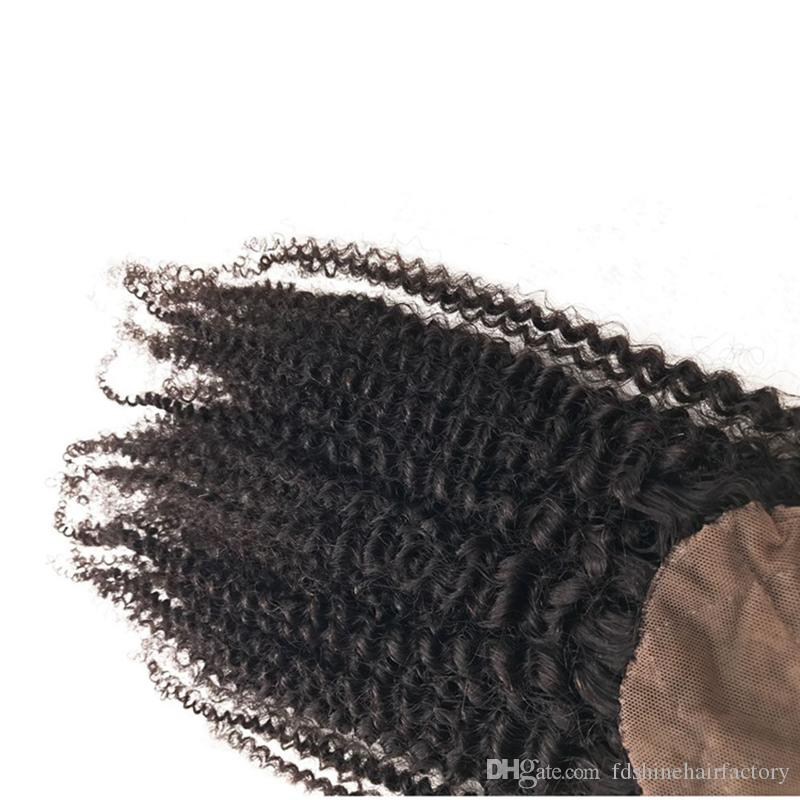 Fast Delivery Kinky Curly Silk Base Closure Cheap Malaysian Human Hair Top Closure with Kinky Curky Bundles For Sale FDSHINE