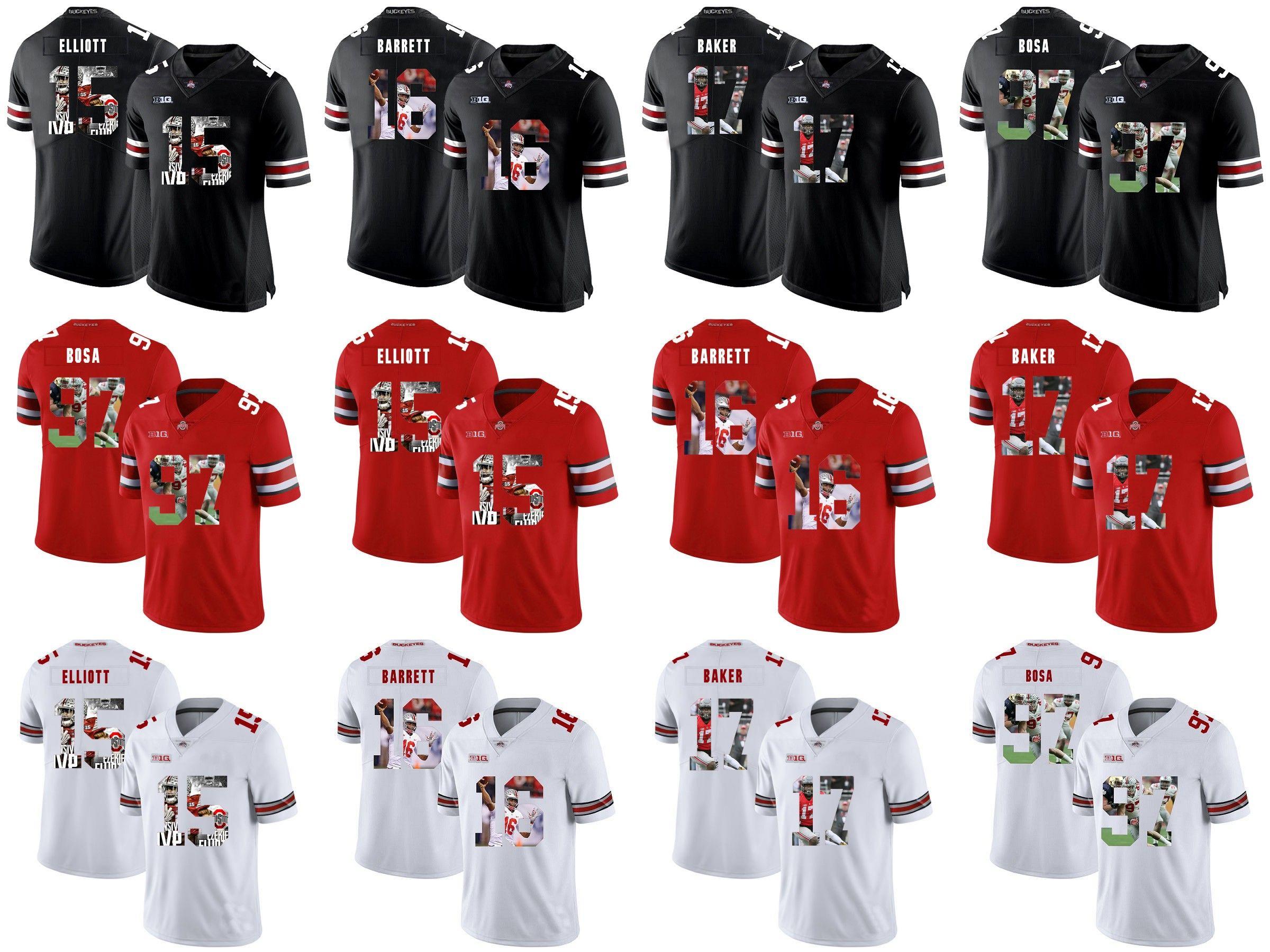 buy popular 9462f 91bfe Ohio State Buckeyes # Ezekiel Elliott J.T. Barrett Jerome Baker Joey Bosa  College Football Stitched Jerseys White Black Red
