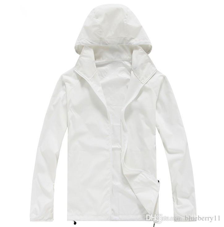 Summer New Brand Women`s Men`s Fast drying Outdoor Casual Sports Waterproof Skin Anti UV Jackets Coats Windbreaker Black White Plus Size 3XL
