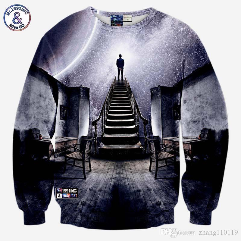 Hip Hop Very Popular Style Men S 3d Sweatshirts Print A Person Watch The  Space Meteor Shower Casual Stairs Ladder Hoodies UK 2019 From Zhang110119 69d866777