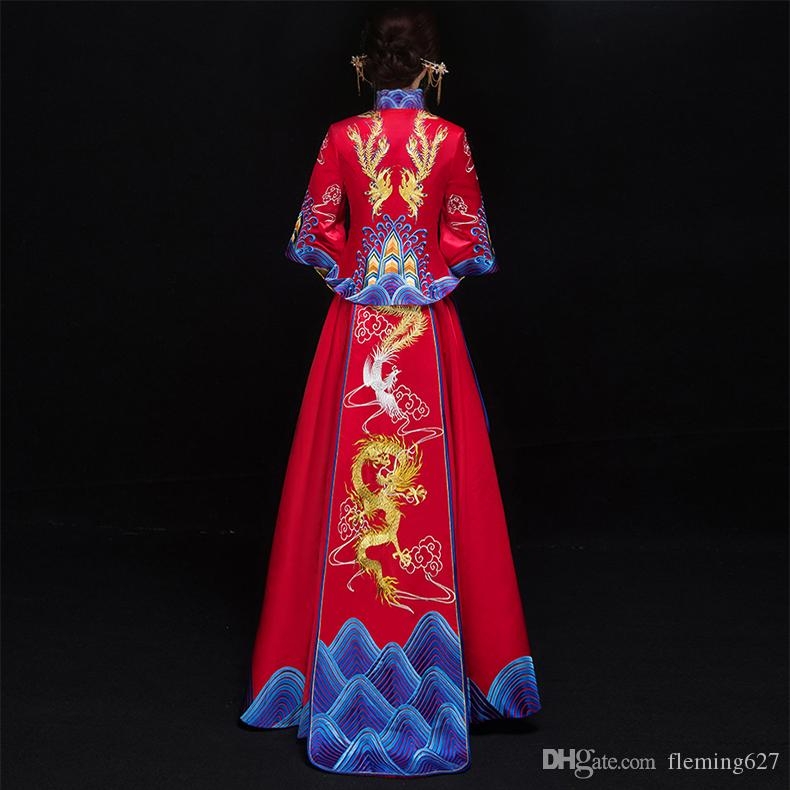 Alta qualità Cina tradizionale elegante sposa matrimonio cheongsam vestito drago cinese phoenix Suzhou abito da ricamo sfilata di moda