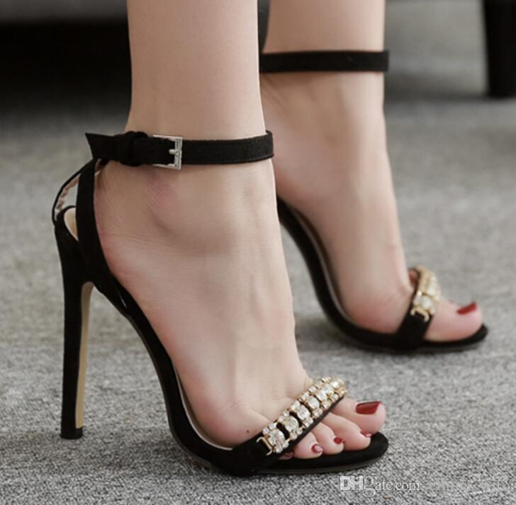 c0073e8bc616 New Fashionable Sexy Design Pumps RhinestoneWomen Line Style Buckle Thin  High Heels Black Faux Suede Open Toe Dress Wedding Sandals Nude Wedges  Bridal Shoes ...