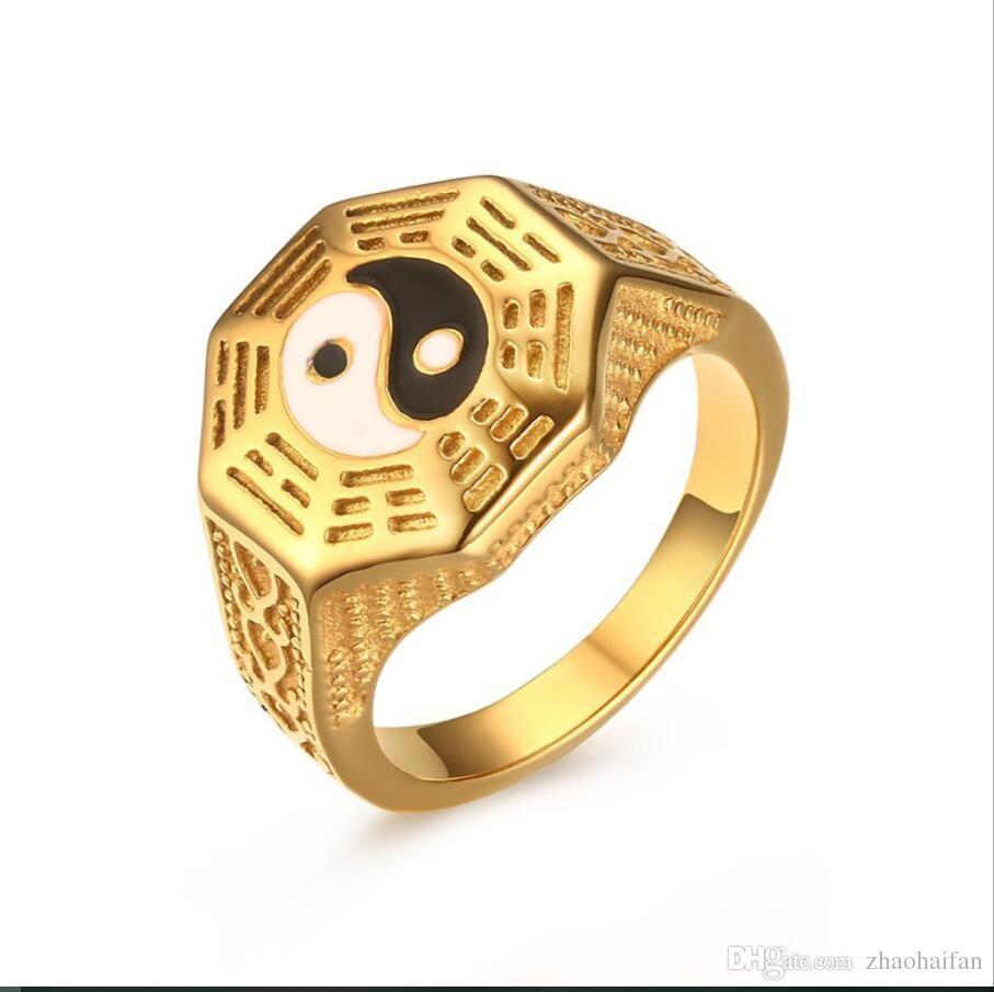 Zhf Jewelry Mens Yin Yang Signet Ring Stainless Steel Taoism