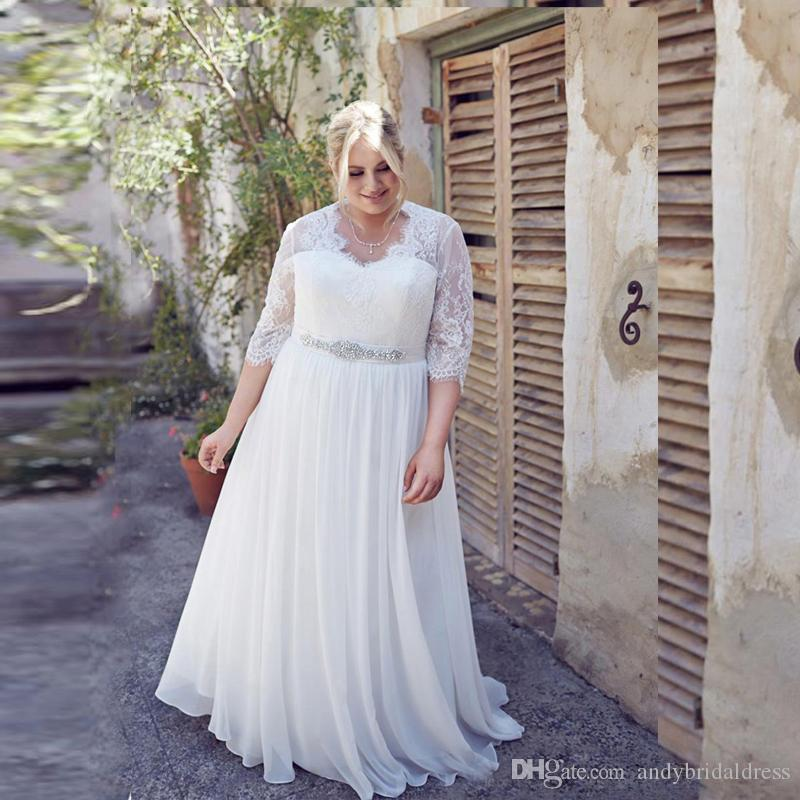 Discount 2018 Plus Size Wedding Dresses With Sleeves A Line Chiffon And Lace  New Arrival Big Women Bridal Gowns Custom Made Vestidos De Novia Bride  Dresses ... f30379ab9b