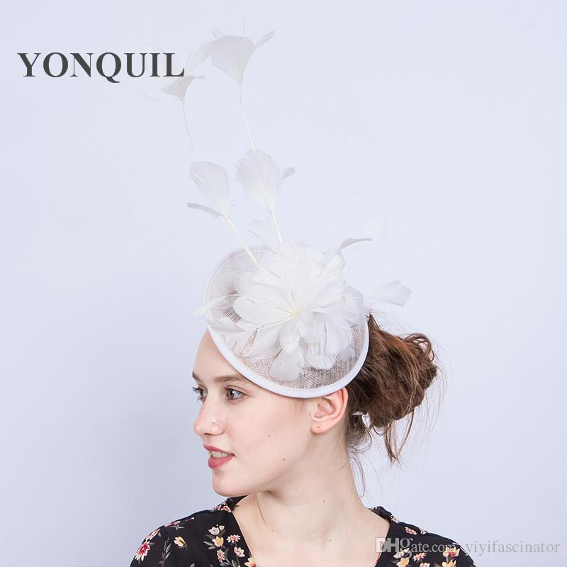aeb327a232503 New Design nice white sinamay fascinator hat with feather for wedding party  Races Kentucky Derby Ascot church Cocktail Event Occasion SYF219
