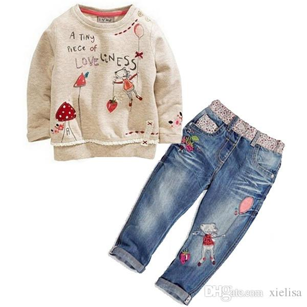 2pcs kids baby Girls long sleeve Tops + Jeans Denim Pants Set Outfits Spring Autumn Clothing children clothes set