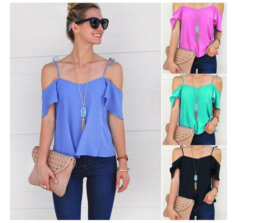 d71a55e957 2019 Hot Sale Summer New Women Strapless Fashion Blouse Plus Size Lotus  Leaf Short Sleeve Shirt Elegant Temperament Sexy Shirt Online with   32.13 Piece on ...