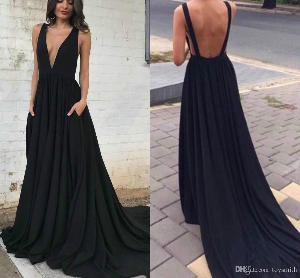 2018 New Arrival Sexy Backless A-Line Formal Evening Dress Elegant Sleeveless Satin Deep V-Neck Party Prom Dress