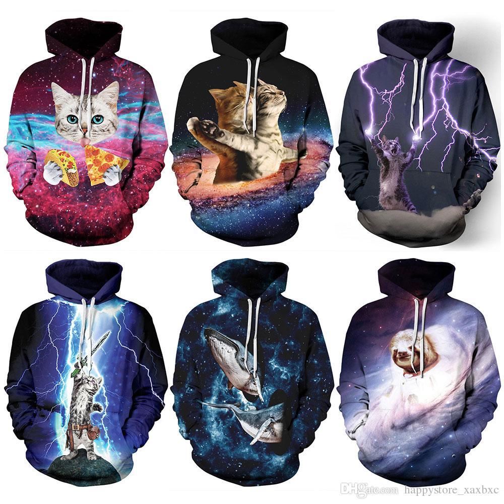 3ca8b61a398 New 020 Galaxy Cat Panda Whale Sloth Unicorn Printed Women Jacket Hooded  Femme Sweatshirt Casual Loose Men Pocket Hoodies Coat Hoodies Jacket  Sweatshirts ...