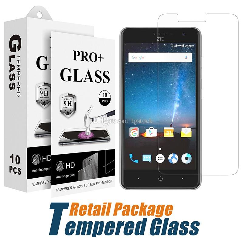 For Kyocera Duraforce Pro E6820 Tempered Glass Tmobile Revvl Plus Zte Blade  Vantage N837 Screen Protector Film With Paper Package