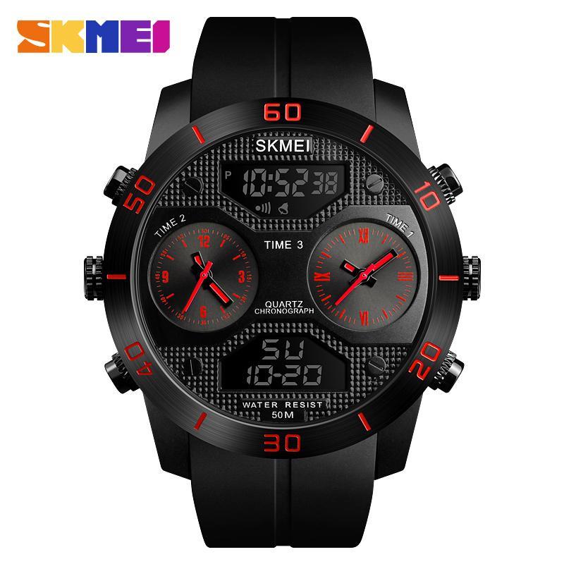 4f5bd944931 Compre SKMEI 3 Tempo Display Men Digital De Quartzo Relógio Ao Ar Livre Relógio  Masculino Relógios De Pulso Relogio Masculino À Prova D  Água Natação ...
