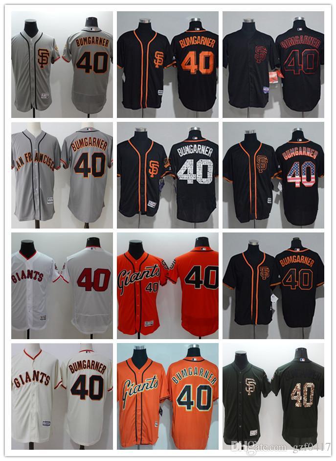 2ca7a9f3524 custom Men s women youth Majestic SF Giants Jersey  40 Madison Bumgarner  Home Orange Grey White Baseball Jerseys
