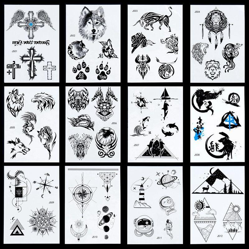 NEW Taty Large Body Art Arm Sleeves Temporary Tattoo Sticker Fake cool Men Indian Totem tatuagem 24model wolf cross design