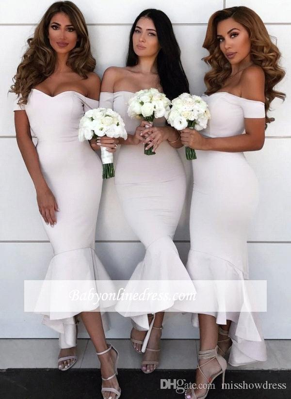 5d9d84d18f7 2018 Mermaid High Low Bridesmaid Dresses Off The Shoulder Ruffles Wedding  Guest Long Prom Cocktail Evening Dresses BA9401 Blue Bridesmaid Dress  Bridemaid ...
