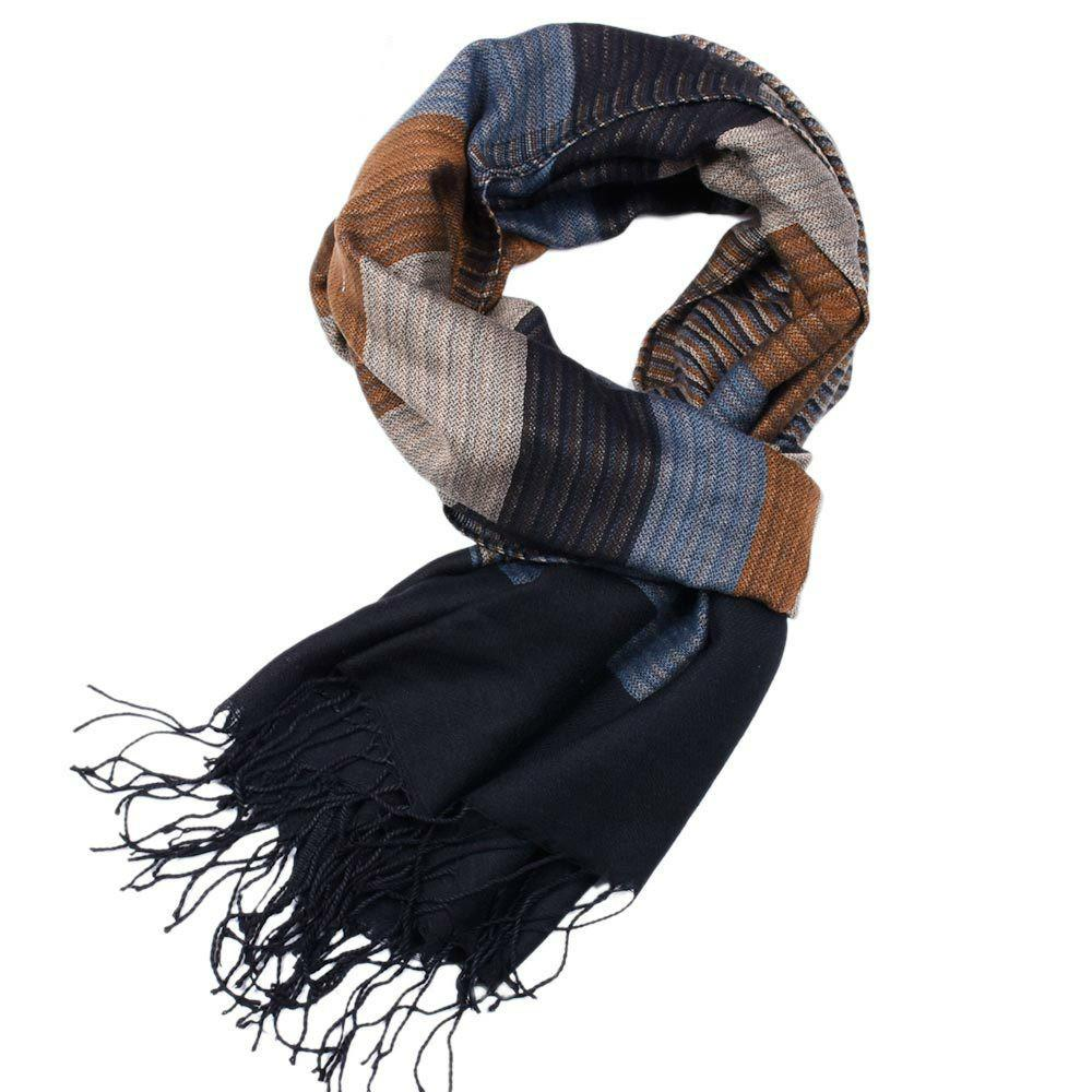7cab5b1dbd863 2018 Double Fine Striped Scarves Men Winter New Brand Fashion Plaid Scarf  For Men Cozy Warm Long Tassel Scarf Cotton Blue Mens Scarves Silk Scarves  From ...