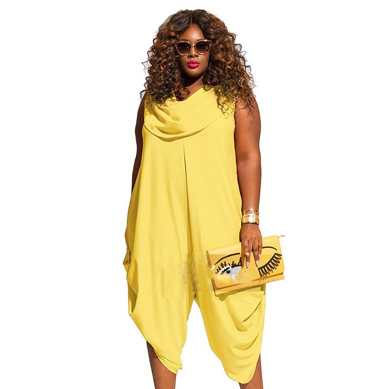 42cbfd9fae35 2019 Yellow Red White Sexy Plus Size 4XL 5XL Jumpsuits And Rompers For  Women 2018 Summer Bodysuit Loose Sleeveless Playsuit Overalls From Yabsera