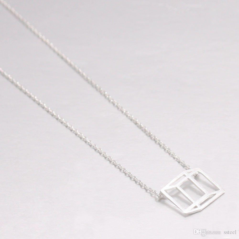 10 قطع هندسية مخطط شقة مكعب قلادة قلادة مضحك الوهم البصري خط مكعب مجوهرات التبعي الهدية
