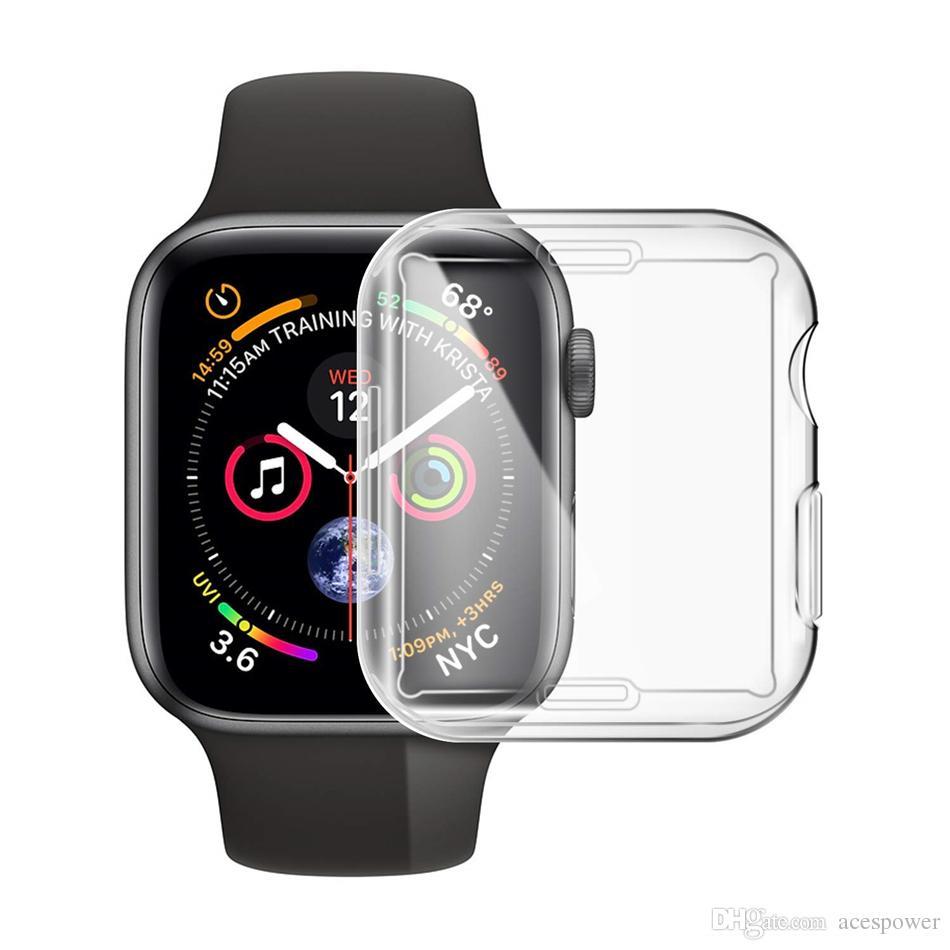 Pour iWatch 5 4 cas 40mm 44mm 38mm 42mm Clear Soft TPU housse série 1 2 3 protecteur d'écran pour Apple Watch 4