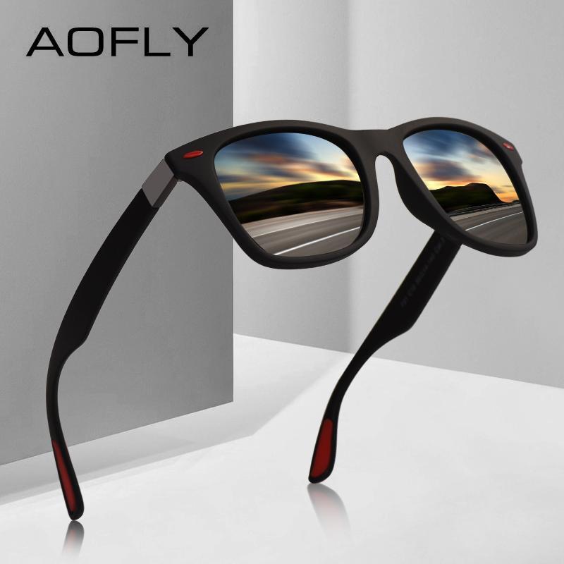 2d2a49979f55d Compre Aofly Marca Design Clássico Polarizada Óculos De Sol Das Mulheres  Dos Homens De Condução Quadrado Quadro Óculos De Sol Masculino Goggle Uv400  Gafas ...
