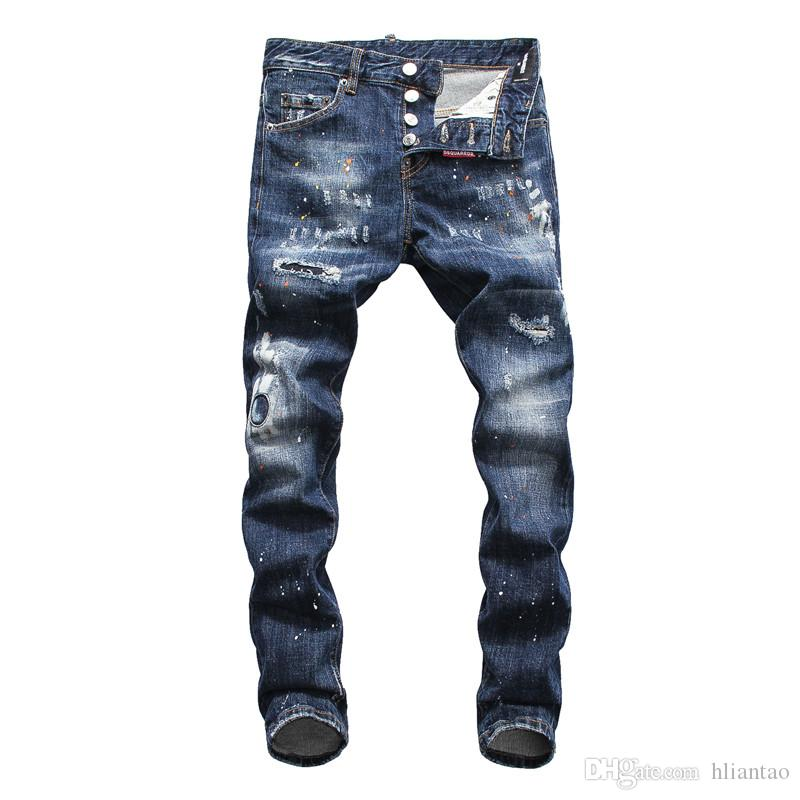 c4dc97d9ed1b8 New Black Ripped Jeans Men With Holes Denim Super Skinny Famous ...