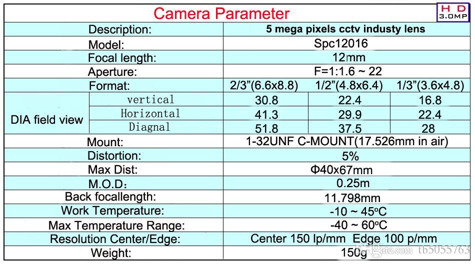 12 mm de fábrica del envío el precio barato de montaje C lentes de visión artificial 5 megapíxeles lente industria óptica