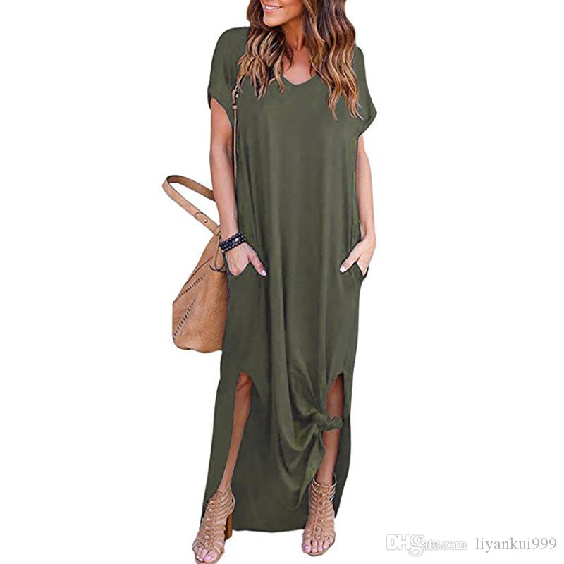 a032dc7991 Women Summer Dresses Loose Pullover Maxi Dress A Type Casual Solid Color Long  Dress Short Sleeve Backless Lady Pocket Womens Clothing S 2XL Party Formal  ...